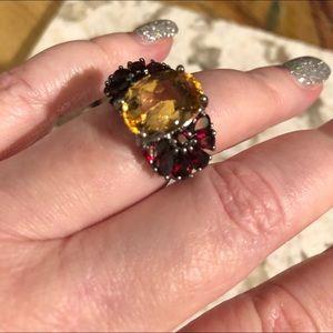 Jewelry - Beautiful citrine Rhodolite Garnet sterling ring